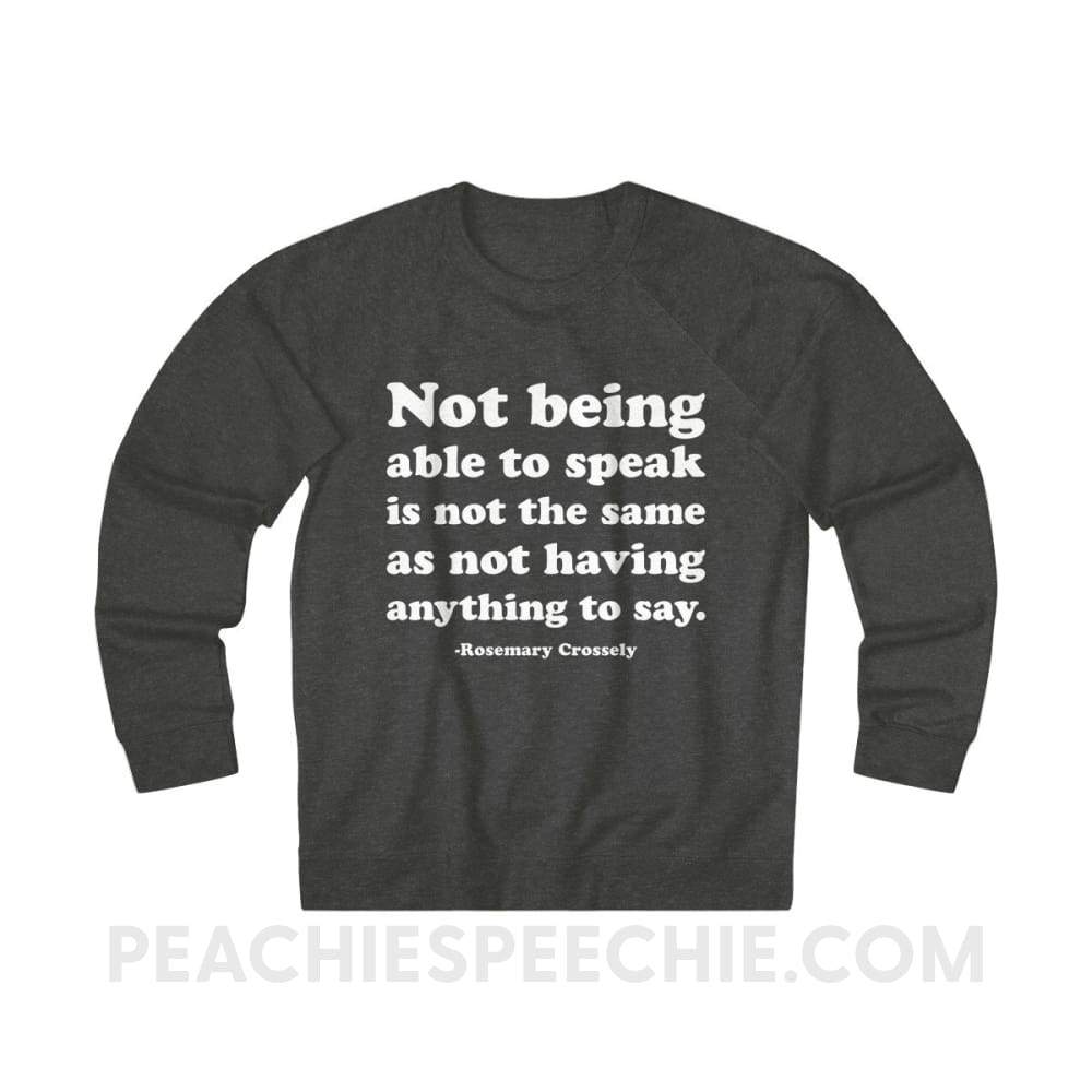 French Terry Sweatshirt | Crossely Quote - L / Charcoal Heather - Sweatshirt French Terry Sweatshirt | Crossely Quote peachiespeechie.com