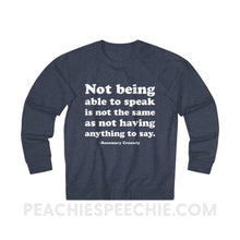 Load image into Gallery viewer, French Terry Sweatshirt | Crossely Quote - XS / Denim Heather - Sweatshirt French Terry Sweatshirt | Crossely Quote peachiespeechie.com