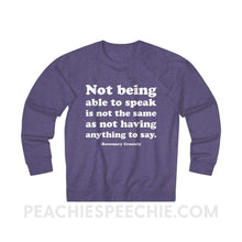 Load image into Gallery viewer, French Terry Sweatshirt | Crossely Quote - XS / Purple Heather - Sweatshirt French Terry Sweatshirt | Crossely Quote peachiespeechie.com