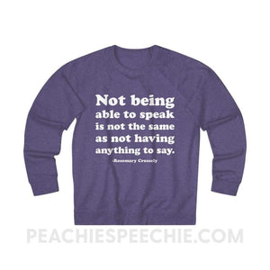 French Terry Sweatshirt | Crossely Quote - XS / Purple Heather - Sweatshirt French Terry Sweatshirt | Crossely Quote peachiespeechie.com