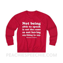 Load image into Gallery viewer, French Terry Sweatshirt | Crossely Quote - XS / Red Heather - Sweatshirt French Terry Sweatshirt | Crossely Quote peachiespeechie.com