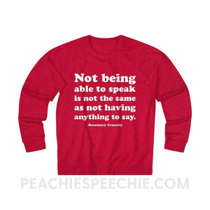 French Terry Sweatshirt | Crossely Quote - XS / Red Heather - Sweatshirt French Terry Sweatshirt | Crossely Quote peachiespeechie.com