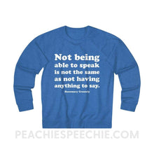 Load image into Gallery viewer, French Terry Sweatshirt | Crossely Quote - XS / Royal Heather - Sweatshirt French Terry Sweatshirt | Crossely Quote peachiespeechie.com