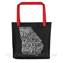 Load image into Gallery viewer, Tote Bag | Georgia SLP - Red - Bags Tote Bag | Georgia SLP peachiespeechie.com
