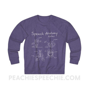 Terry Sweatshirt | Speech Anatomy Notes - XS / Purple Heather - Sweatshirt Terry Sweatshirt | Speech Anatomy Notes peachiespeechie.com
