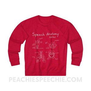 Terry Sweatshirt | Speech Anatomy Notes - XS / Red Heather - Sweatshirt Terry Sweatshirt | Speech Anatomy Notes peachiespeechie.com