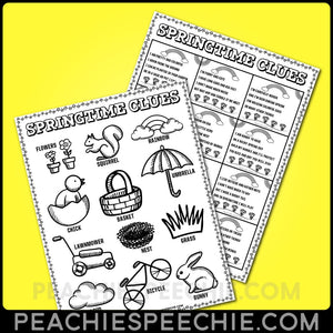 Springtime Clues: Early Inferencing Activity - Materials Springtime Clues: Early Inferencing Activity peachiespeechie.com