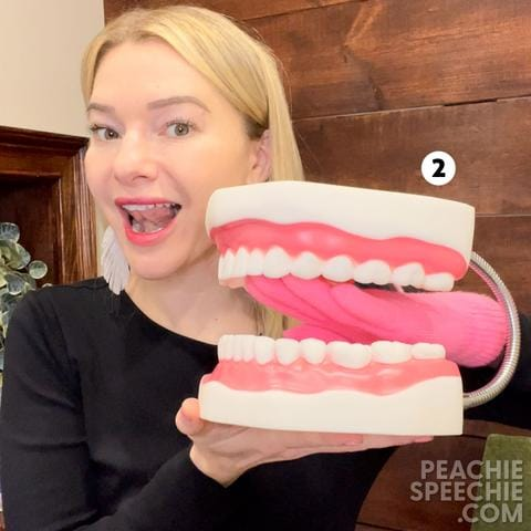 Pink glove as a tongue with mouth model #2