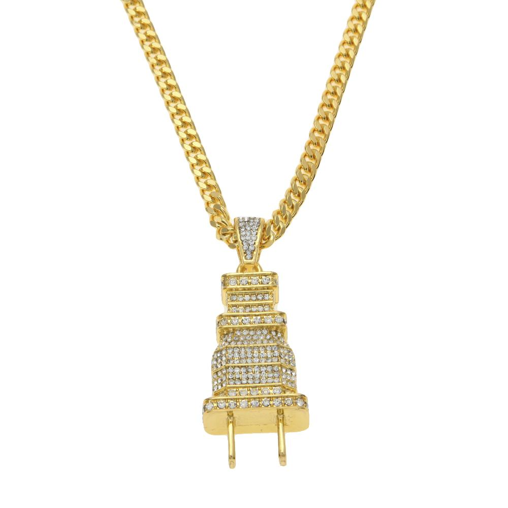 ICED OUT PLUG PENDANT W/ 27 INCH FRANCO CHAIN