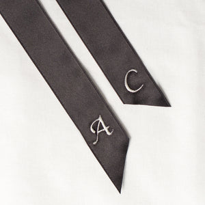 Black personalised hair ribbon monogrammed with embroidered initials