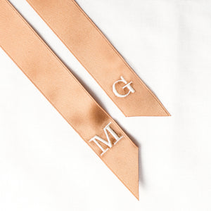 Brown personalised hair ribbon with monogrammed embroidered initials