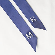 Personalised navy ribbon with monogrammed embroidered initials