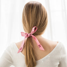 Pink personalised hair ribbon with monogrammed embroidered initials