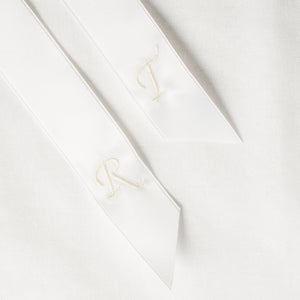 White personalised hair ribbon monogrammed with embroidered initials