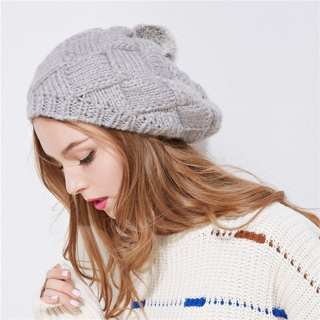 919bf28be41 Xthree New winter hat for women knitted beret hat with rabbit fur pom pom  girl solid