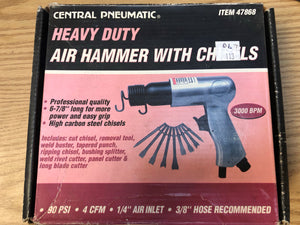 Central Pneumatic Heavy Duty Air Hammer with chisels Model #: 47868