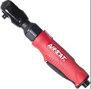 "Composite Air Ratchet Part #: ACA-802 Drive: 3/8"" Max Torque: 90 ft-lbs RPM: 280 dBA: 82"