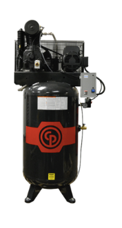 Chicago Pneumatic Cast Iron Air Compressor Part #: RCP-C7581V 7.5hp Reciprocating Air Compressor, 80 Gallon Vertical Receiver, Magnetic Starter, 25.3 @ 175 PSIG, 208-230V/1Ph