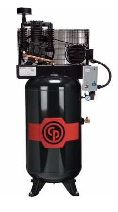 Chicago Pneumatic Air Compressor RCP-7581VS, 7.5hp Reciprocating Air Compressor, 80 Gallon Vertical Receiver, Magnetic Starter, 25.3 @ 175 PSIG, 208-230V/1Ph