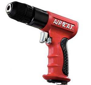"Reversible Composite Air Drill Part #: ACA-4338  Chuck: 3/8"" Jacobs  Motor: 5/8 HP  Free Speed: 1800 RPM dBA: 85"