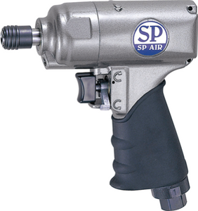 "Reversible Impact Driver with Double Hammer Clutch Part #: SPA-SP 8102BU  Chuck: 1/4"" Hex  Max. Torque: 100ft-lbs  Free Speed: 11,500 RPM  Length: 6"" dBA: 90"