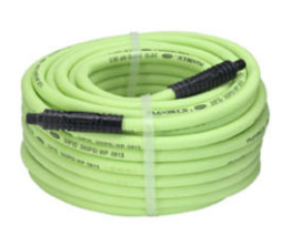 "Flexzilla Air Hose Part #: LEG-HFZ38100YW2 Hose Size x Length: 3/8"" x 100' Working Pressure: 300 PSI NPT: 1/4"""
