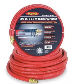 "Workforce Series Heavy Duty Rubber Air Hose Part #: LEG-HRE1225RD3  Hose Size x Length: 1/2"" x 25'  NPT: 3/8"""