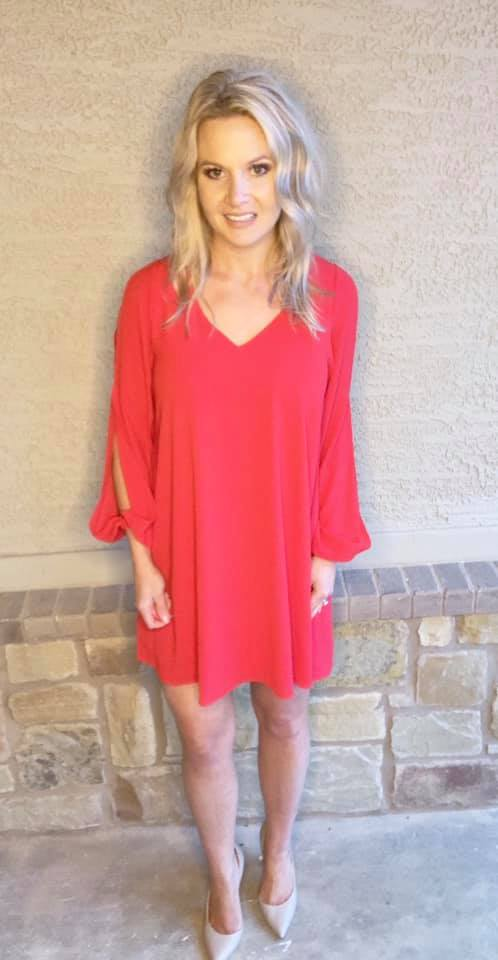 e0024329439 Load image into Gallery viewer, Red Cut-Out Long Sleeve Shift Dress ...
