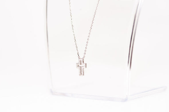 St Paul's, sterling silver, Swarovski crystal cross necklace
