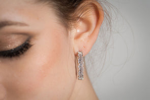 Kensington large hoop earrings, sterling silver baguette Swarovski crystal