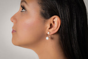 Dorchester, sterling silver pearl stud earrings.
