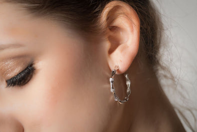 Marylebone, bamboo  design sterling silver and Swarovski crystal hoop earrings