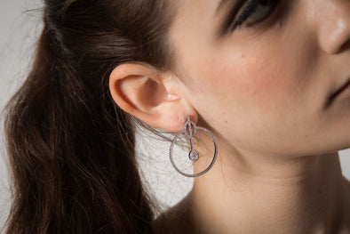 Sloane Square large hoop earrings, sterling silver and Swarovski crystals