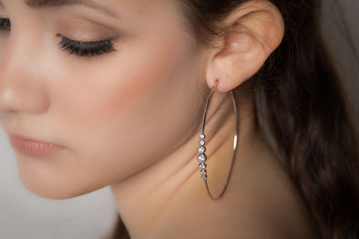 Mayfair large hoops, sterling silver, Swarovski crystal earrings
