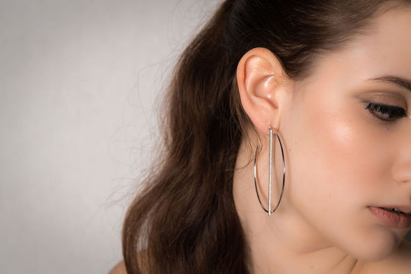 Eltham, sterling silver, Swarovski crystal hoop earrings.