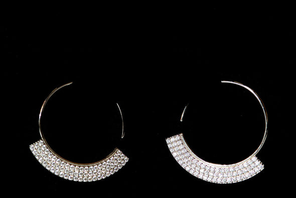 Menton sterling silver slide hoop earrings, Swarovski crystals