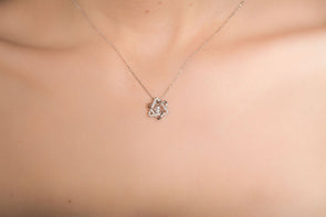 Golders Green, sterling silver, Swarovski crystal Star of David necklace.
