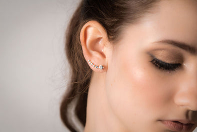 Bond Street, sterling silver, Swarovski crystal ear climber earrrings