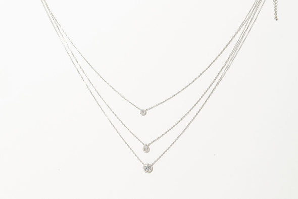 Provence, three necklaces in one, sterling silver with Swarovki crystals