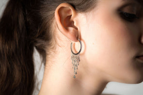 Montpellier, sterling silver hoops with Swarovski crystal strands