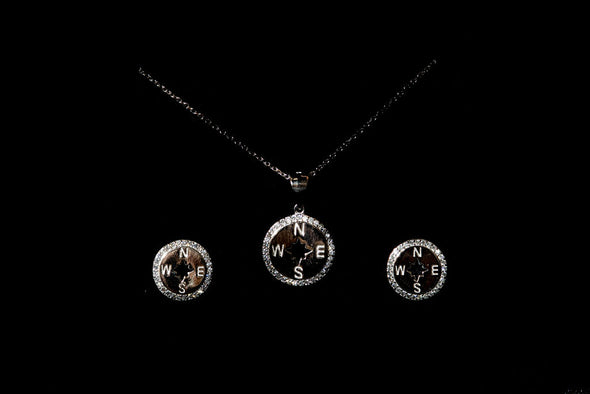 Grasse, compass sterling silver jewelry set