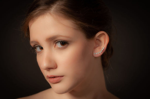 Battersea, sterling Silver, Swarovski crystal ear climber earrings