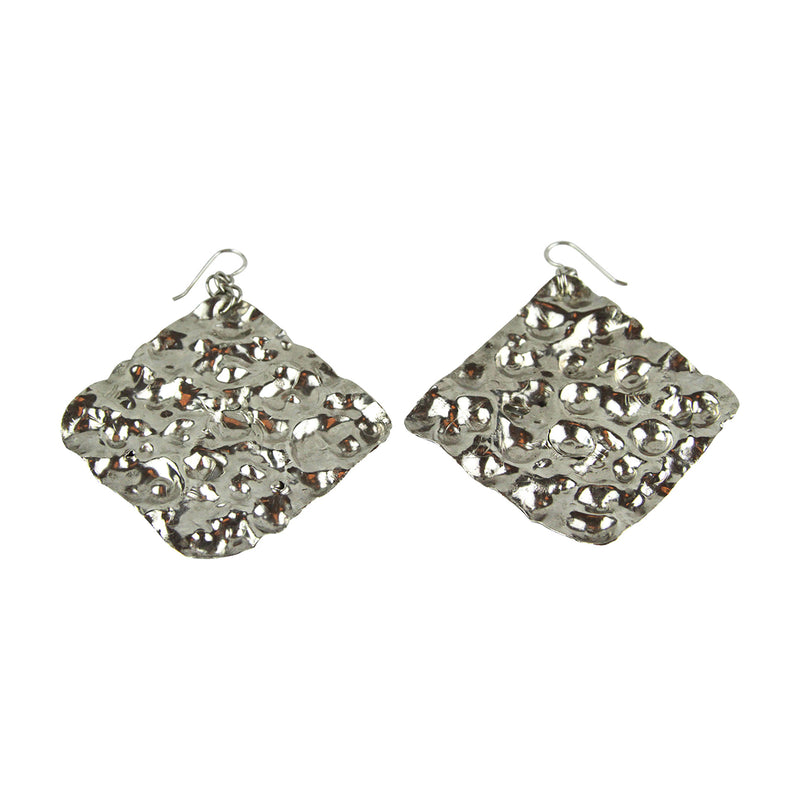 Hammered Diamond Shaped Earrings - Tocci Designs