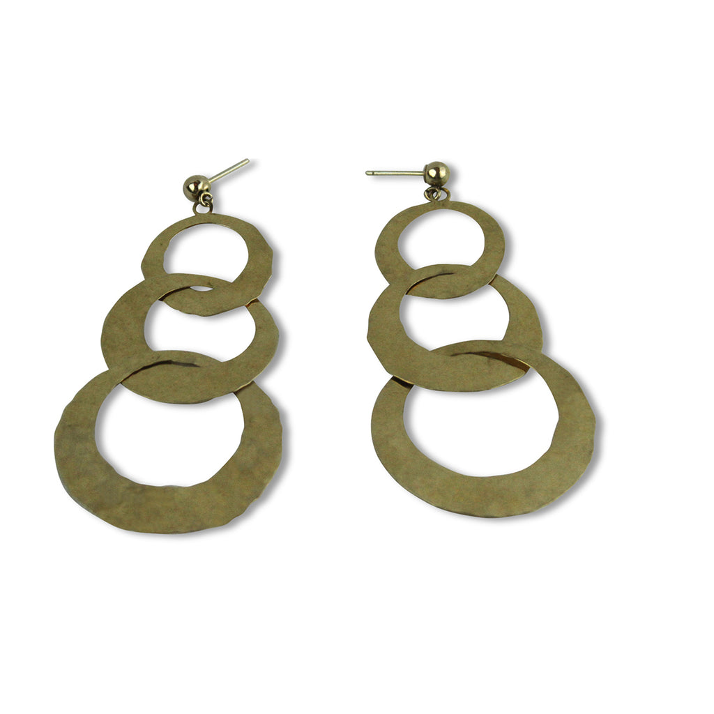 Hammered Triple Loop Earrings - Tocci Designs