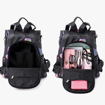 Women's Stylish Waterproof Nylon Bags Large Capacity Anti-theft Zipper Backpack