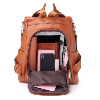 Women's Classic Waterproof Solid Large Capacity Anti-theft Zipper Backpack