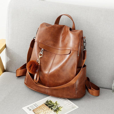 Women's Fashion Solid Waterproof Bags Multifunctional Anti-theft Zipper Backpack