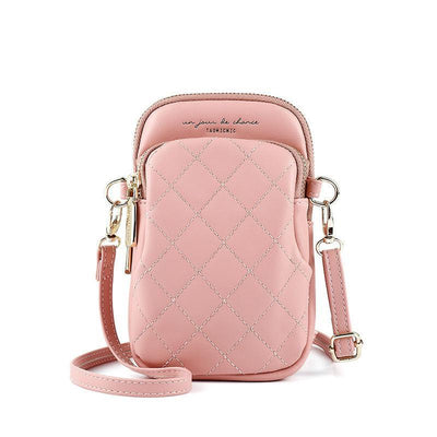 Women Fashion Waterproof Bags Lingge Solid Multi-card Position Zipper Crossbody Bag