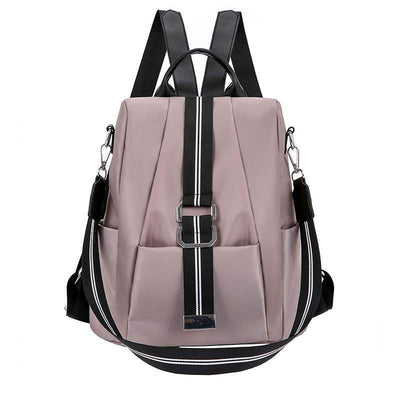 Women's Casual Solid Waterproof Nylon Bags Anti-theft Multifunctional Zipper Backpack