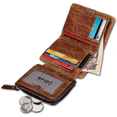 Men's Vintage Genuine Leather RFID Multi Card Slots Double Zippers Short Wallet